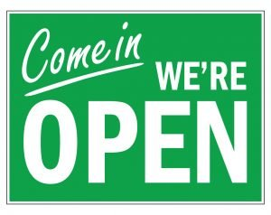 Come In We Are Open Sign In Green